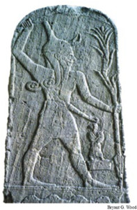 Baal the Canaanite storm god, also worshipped by the later Phoenicians. In his left hand he holds a spear which flashes lightning and in his right hand a mace. The relief, which dates to 1650–1500 BC, was found in a sanctuary in the Canaanite city of Ugarit, Syria, in 1932. It is now on display in the Louvre Museum in Paris. (description courtesy of http://www.biblearchaeology.org/post/2008/09/19/Seal-of-Jezebel-Identified.aspx)